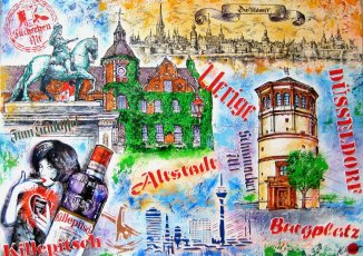 Düsseldorf Collage mit Altstadt Motiven Pop Art