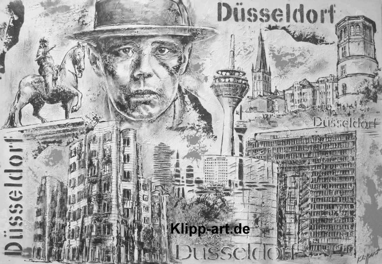 Düsseldorf Collage Schwarz Weiß, Black & White Kunst A
