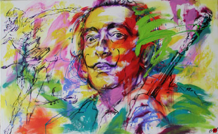 pop art düsseldorf idol Salvador Dali portrait Originalgemälde